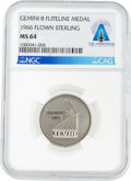 Explorers:Space Exploration, Gemini 8 Flown MS64 NGC Silver Fliteline Medallion Directly From The Armstrong Family Collection™, CAG Certified....