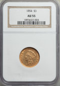 1854 $3 AU55 NGC. NGC Census: (932/2162). PCGS Population: (870/1300). AU55. Mintage 138,618. From The Chinook Collec...