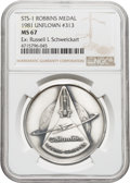 Explorers:Space Exploration, Space Shuttle Columbia (STS-1) Unflown MS67 NGC Silver Robbins Medallion, Serial Number 313, Directly from the Per...