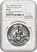 Explorers:Space Exploration, Space Shuttle Columbia (STS-3) Unflown MS66 NGC Silver Robbins Medallion, Serial Number 195, Directly from the Per...
