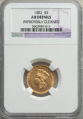 Three Dollar Gold Pieces, 1882 $3 -- Improperly Cleaned -- NGC Details. AU. NGC Census: (5/217). PCGS Population: (14/258). CDN: $2,000 Whsle. Bid fo...