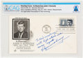 """Explorers:Space Exploration, John F. Kennedy """"In Memoriam"""" Stamp First Day Cover Inscribed by the Stamp's Designer Raymond Loewy to Neil Armstrong, Dir..."""