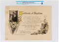 "Explorers:Space Exploration, Neil Armstrong's Church ""Certificate of Baptism"" Dated August 19, 1930, Directly from The Armstrong Family Collection™, CAG Ce..."