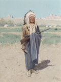 Henry Farny (American, 1847-1916) Indian Chief Gouache and watercolor on paper 8-1/8 x 5-7/8 inch