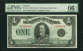 Canadian Currency, DC-25n $1 1923 PMG Gem Uncirculated 66 EPQ.. ...