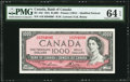 Canadian Currency, BC-44d $1000 1954 PMG Choice Uncirculated 64 EPQ.. ...