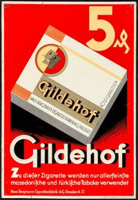 """Gildehof Cigarettes (c. 1930s). Fine/Very Fine. Metal German Advertising Sign (9.5"""" X 13.75""""). Miscellaneous..."""