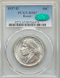 Commemorative Silver, 1937-D 50C Boone MS67 PCGS. CAC. PCGS Population: (54/4). NGC Census: (28/5). CDN: $750 Whsle. Bid for problem-free NGC/PCG...