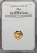 Commemorative Gold, 1915-S G$1 Panama-Pacific Gold Dollar MS66 NGC. NGC Census: (520/66). PCGS Population: (819/80). CDN: $1,200 Whsle. Bid for...