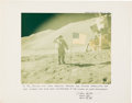 Explorers:Space Exploration, Dave Scott Apollo 15 Lunar Surface Flag Salute Color Photo on Presentation Mat to Attorney Paul Sawyer, Signed with Extensive ...