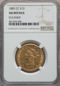 1882-CC $10 -- Cleaned -- NGC Details. AU. Variety 2-A....(PCGS# 8696)