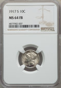 1917-S 10C MS64 Full Bands NGC. NGC Census: (85/46). PCGS Population: (211/211). CDN: $310 Whsle. Bid for NGC/PCGS MS64...