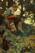 "Fine Art - Painting, American, Frank Earle Schoonover (American, 1877-1972). ""He swing hisrifle out over a forked limb and let it settle in thecrotch.""..."