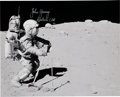 Explorers:Space Exploration, John Young Signed Apollo 16 Lunar Surface Photo Directly from the John W. Young Collection....