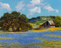 Fine Art - Painting, American, William A. Slaughter (American, 1923-2003). Field ofBluebonnets. Oil on canvas. 16 x 20 inches (40.6 x 50.8 cm).Signed...