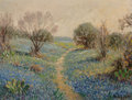 Paintings, Rolla Sims Taylor (American, 1872-1970). Path Through the Bluebonnets. Oil on board. 12 x 16 inches (30.5 x 40.6 cm). Si...