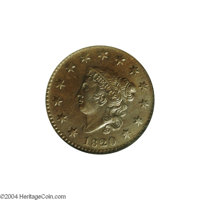 1820 1C Small Date MS64 Brown NGC. AU55 EAC. N-5, Intermediate Die State, R.3. This is a later intermediate state with t...