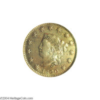1820 1C Small Date AU55 NGC. VF35 EAC. N-6, Early Die State, R.4. This cent was described as an intermediate die state e...