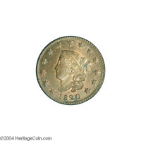 1820 1C Small Date MS64 Brown NGC. MS60+ EAC. N-7, Intermediate Die State, R.2. A middle die state example with the obve...
