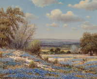 William Robert Thrasher (American, 1908-1997) Bluebonnet Covered Hills Oil on canvas 16 x 20 inch