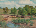 Fine Art - Painting, American, Fred Darge (American, 1900-1978). The Waterhole, WichitaMountains Wild Life Refuge, Oklahoma. Oil on canvasboard. 12 x...