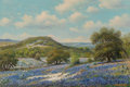 Fine Art - Painting, American, William Robert Thrasher (American, 1908-1997). BluebonnetSeason. Oil on canvas. 24 x 36 inches (61.0 x 91.4 cm).Signed...