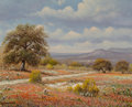 Fine Art - Painting, American, William Robert Thrasher (American, 1908-1997). IndianPaintbrushes. Oil on canvas. 16 x 20 inches (40.6 x 50.8 cm).Sign...