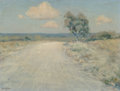 Fine Art - Painting, American, Porfirio Salinas (American, 1910-1973). Country Road. Oil onpanel. 12 x 15-1/2 inches (30.5 x 39.4 cm). Signed lower le...