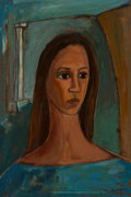 Fine Art - Painting, American, Margaret Owen Mellott (American, b. 1923). Portrait of a YoungWoman. Oil on Masonite. 16-1/2 x 11 inches (41.9 x 27.9 c...