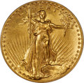 High Relief Double Eagles, 1907 $20 High Relief, Flat Rim, MS62 PCGS....