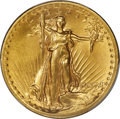 High Relief Double Eagles, 1907 $20 High Relief, Flat Rim, MS63 PCGS....