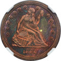 1864 25C Seated Quarter, Judd-387, Pollock-455, High R.6, PR64 Red and Brown Cameo NGC....(PCGS# 70558)