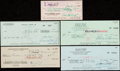 Autographs:Checks, Entertainers Signed Check Lot of 5 with Burroughs, Heston, Price, Quinn, & West.... (Total: 7 items)