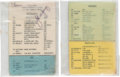 "Explorers:Space Exploration, Gemini 10 Flown ""Agena Commands"" Cue Card with ""Geostationary Satellite Antenna Pointing Guide"" Directly from the John W. Youn... (Total: 2 Items)"