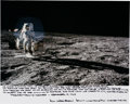 Explorers:Space Exploration, Alan Bean Signed Large Apollo 12 Lunar Surface Color Photo with Lengthy John F. Kennedy Quote. ...