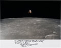 Explorers:Space Exploration, Richard Gordon Signed and Annotated Large Apollo 12 Lunar Orbit Color Photo. ...