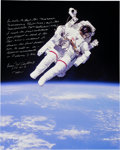 Explorers:Space Exploration, Bruce McCandless Signed and Annotated Large STS-41-B Untethered EVA Color Photo. ...