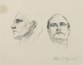 Works on Paper, John Singer Sargent (American, 1856-1925). Two Studies of the Head of a Man, circa 1920. Pencil on paper. 8-1/8 x 10-7/8...