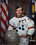 Explorers:Space Exploration, John Young Signed White Spacesuit Color Photo with Novaspace Certificate of Authenticity. ...