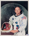Explorers:Space Exploration, Neil Armstrong Signed White Spacesuit Color Photo, Uninscribed, with PSA/DNA Letter of Authenticity. ...