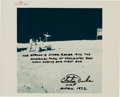 """Explorers:Space Exploration, Charlie Duke Signed Apollo 16 Lunar Surface Original NASA """"Red Number"""" Color Photo with Handwritten Caption, Originally from h..."""