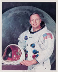 Explorers:Space Exploration, Neil Armstrong Signed White Spacesuit Color Photo, Uninscribed. ...