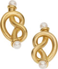 Estate Jewelry:Earrings, Cultured Pearl, Gold Earrings, Angela Cummings