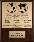 Explorers:Space Exploration, Apollo 11 Limited Edition Lunar Plaque Signed by Buzz Aldrin and Michael Collins. ...
