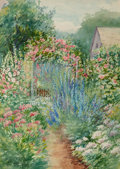 Fine Art - Work on Paper, Theodore Earl Butler (American, 1861-1936). Flower Garden(double-sided work), 1908. Watercolor on paper. 13 x 9 inches...