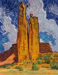 Fine Art - Painting, American, Robert Daughters (American, b. 1929). Spider Rock. Oil oncanvas. 18 x 14 inches (45.7 x 35.6 cm). Signed lower right: ...