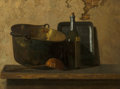 Fine Art - Painting, American, John Frederick Peto (American, 1854-1907). Wine and BrassStewing Kettle (Preparation of French Potage), circa 1890s.Oi...