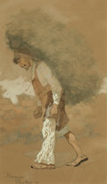 Fine Art - Work on Paper, Frederic Remington (American, 1861-1909). Carrying Fodder,1889. Gouache, watercolor, and ink on buff ...