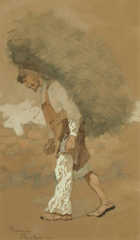 Frederic Remington (American, 1861-1909) Carrying Fodder, 1889 Gouache, watercolor, and ink on buff
