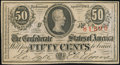 Confederate Notes:1863 Issues, Advertising Note T63 50 Cents 1863 Choice About Uncirculated.. ...